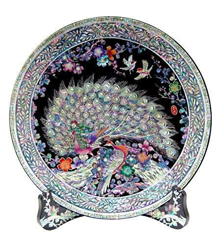 Assiette décorative Plateau circulaire orientale en nacre marqueterie rond pour séjour ou intérieur Support à mur en bois art déco avec motif couple de paon fleur Abricotier