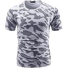 Cebbay Camiseta de Camuflaje para Hombre Cuello Redondo elástico Casual Manga Corta Polos Ropa de Hombre