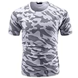 QUINTRA Männer Casual Camouflage Print O Hals Pullover Kurze T-Shirt Top Bluse