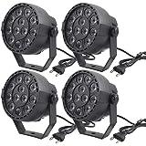 Muslady LED Lampada per Palcoscenico Luci PAR RGBW LED 12 pezzi 12W Sound-Attivata Auto DMX512 Disco Light per DJ Party Nozze