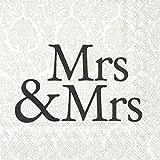 Serviette IHR Motiv: MRS & MRS black - Hochzeit Frau & Frau schwarz Cocktail 25x25cm 20 Servietten pro Packung