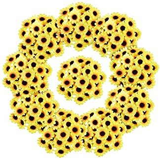 Willbond – 200 Cabezas de Girasol Artificiales de Seda, Color Amarillo