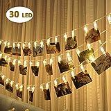 Bolweo - striscia di luci a LED a batteria con 30 clip per foto, 3m di filo di rame, per pareti della casa, decorazioni per interni ed esterni, per appendere foto, immagini, biglietti natalizi, colore bianco caldo