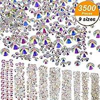 3500 Piezas de Diamantes de Imitación de Espalda Plana 9 Tamaño (1,6 mm - 6,5 mm) Adornos para Arte de Uñas Cara Cuerpo Manualidades, Cristal AB