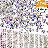 3500 Pièces Gems Strass Dos Plat 9 Tailles (1.6 mm - 6.5 mm) Embellissements pour le Ongles Visage Corps Art Artisanat DIY, Crystal AB