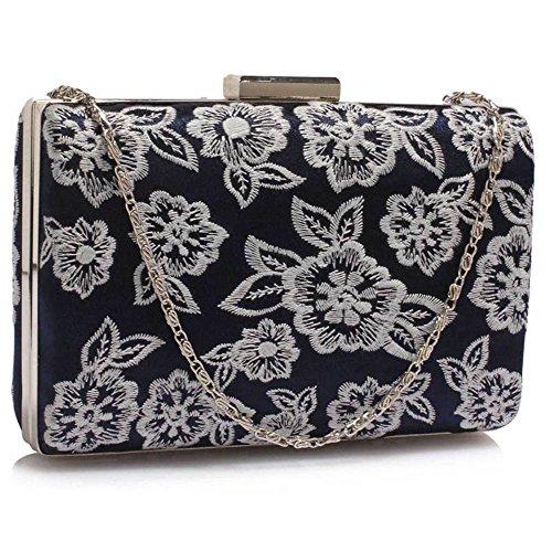 Trendstar Damen Kupplungs Handtasche Blume Entwurf Damen Schnüren Abend Prom Party Hochzeit Taschen Marine