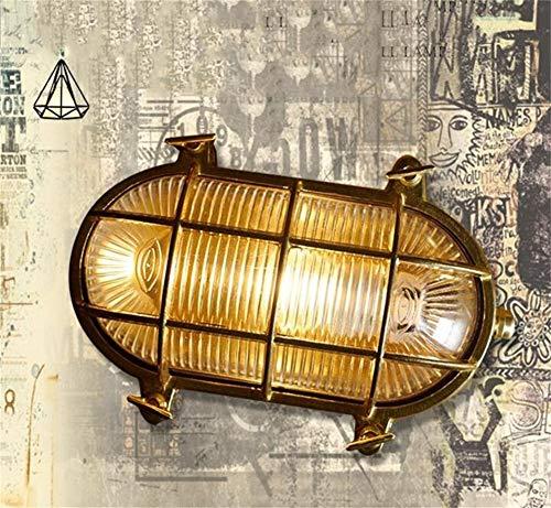 Alto Qualità Lampada da parete esterna in ottone ovale da esterno Lampada da parete marina nautica leggera vintage industriale Calda luce retrò (Colore : L.)