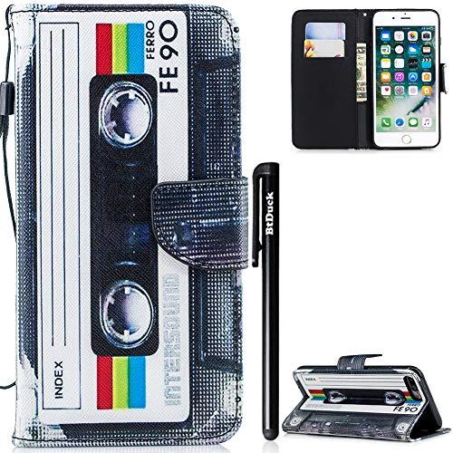 BtDuck iPhone 7 Plus Hülle, iPhone 8 Plus Handyhülle aus Leder, Geldbörsenschutz, Standfunktion, stoßfest #Magnetic tape