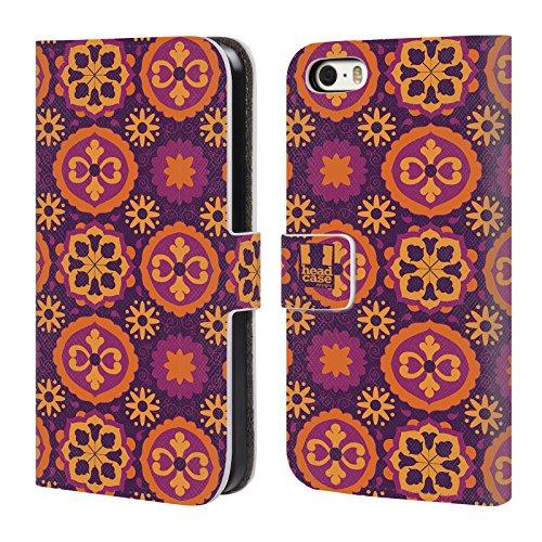 Head Case Designs Ciano Pattern Marocchini Cover a portafoglio in pelle per Apple iPhone 5 / 5s / SE Porpora Circolare