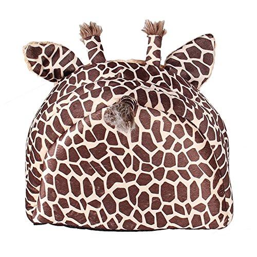 MAGIC UNION Hundehöhle Hundehöhle Tierbett Hundebett Hundesofa Korbmit Schlafplätze Kissen für Pet Hund Katze Haustier in Tiere Braun Giraffe und 3 Größen(S/M/L) wählbar - 3