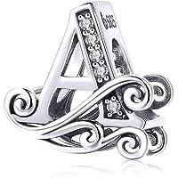 Annmors Charme Lettre de l'alphabet Argent Sterling 925 Femmes Perles Charm avec 5A Zircone Compatible pour Pandora…