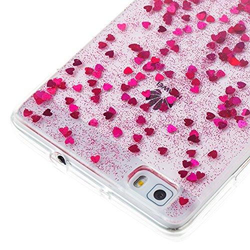 Coque Huawei P8 Lite , Coque Huawei P8 Lite Argent, Cozy Hut Huawei P8 Lite Coque Paillette Strass Brillante Bling Bling Glitter de Luxe, Housse Etui de Protection Silicone [Ultra Fine] [Anti Choc] po Rose rouge amour