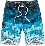 i-select Bañador Para Hombre Tipo Bermuda Secado Rápido (3XL,Cuadros Azul)