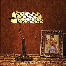 Gweat Tiffany de 10 pulgadas estilo retro Jeweled Banquero lámpara de mesa