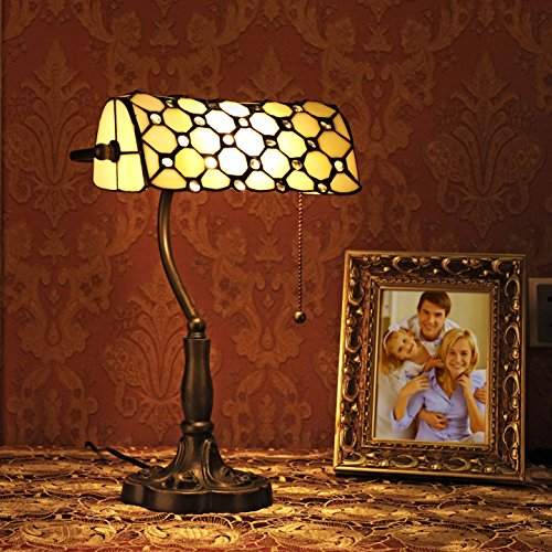 Gweat 10-Inch Retro Stil Jeweled Banker Tischlampe