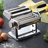 Hochwertige Edelstahl Nudelmaschine manuell für 7 Nudelstärken Pastamaschine Nudel Maschine Pasta Maker (Silber)