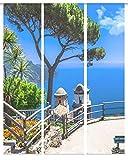Home Fashion Schiebevorhang Digitaldruck 3er Set Stoff blau 245 x 60 x 0.2 cm, 3-Einheiten
