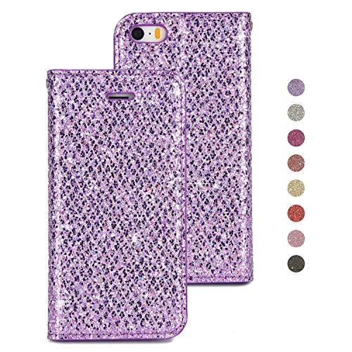 BoRan Lederhülle für iPhone 5/5S/SE, Hülle mit Luxus Glitzer Bling Wallet Flip Case mit Kartenfächer/Standfunktion/Magnethalterung Brieftasche Compatible for iPhone 5G/5S/SE - Lila (Brieftasche Iphone 5 Fall Lila)