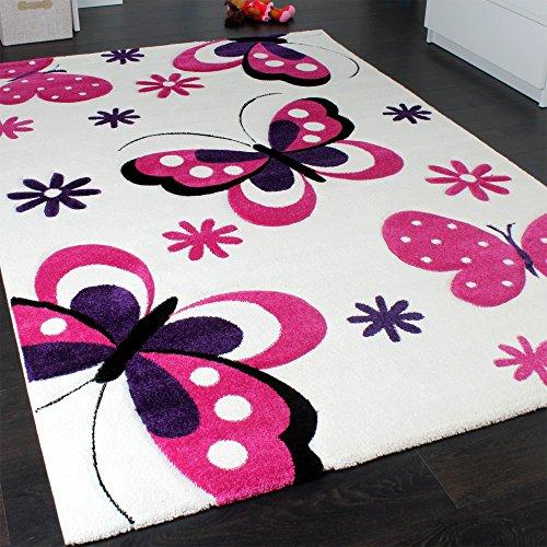 51 50 kinderteppich schmetterling trendiger teppich butterfly design creme pink grsse120x170 cm. Black Bedroom Furniture Sets. Home Design Ideas