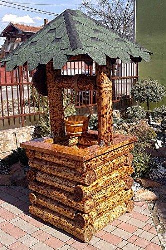 floristikvergleich.de Casa Padrino Garten Brunnen Rustikal mit Schöpfeimer Mod G2 – Eiche Massivholz – Gartenbrunnen Echtholz Massiv