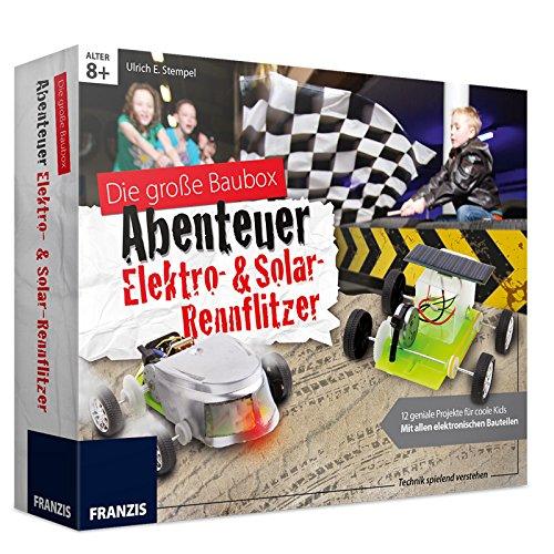 Experimentier-Set Abenteuer Elektro- und Solar- Rennflitzer mit funktionsfähigem Getriebe bauen • Bausatz Elektro Auto Solar Kinder Elektrik Box Kasten