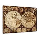 Bilderdepot24 Leinwandbild Weltkarte Vintage 120x90cm - fertig gerahmt, direkt vom Hersteller