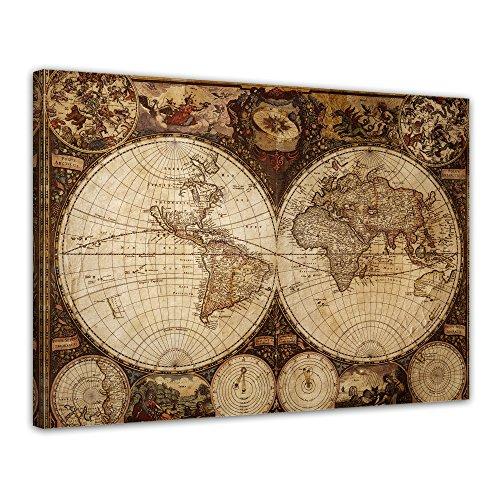 Kunstdruck Weltkarte Vintage - Bild auf Leinwand - 60x50 cm - Leinwandbilder - Bilder als Leinwanddruck - Wandbild von Bilderdepot24 (Der Bilder Globale Erde)