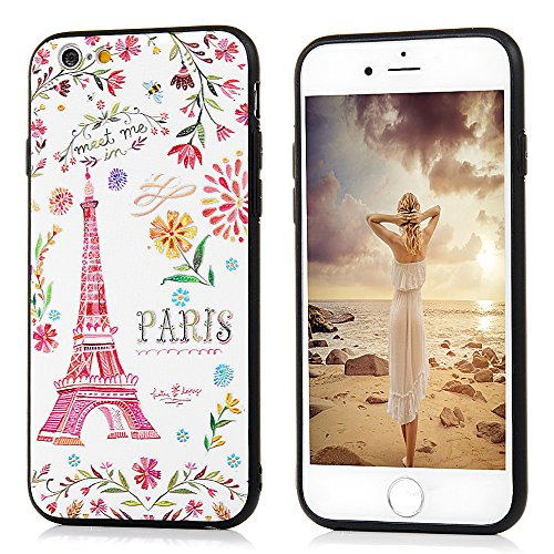 iPhone 6 / 6S Hülle KASOS Handyhülle für iPhone 6 / 6S Case Skin Schale Etui TPU Silicone Bumper + Hart PC Backcase 2 in 1 Protective Cover IMD Technologie, Eiffelturm Eiffelturm