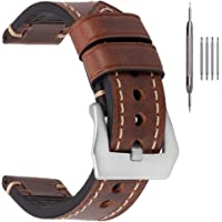 EACHE Bracelets de Montre en Cuir épais pour Hommes, Bracelets de Montre en Cuir ciré à l'huile de Cheval Fou 20mm 22mm…