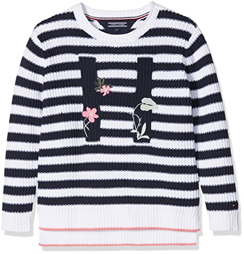 Tommy Hilfiger Embro Stripe Sweater L/S, suéter para Niñas