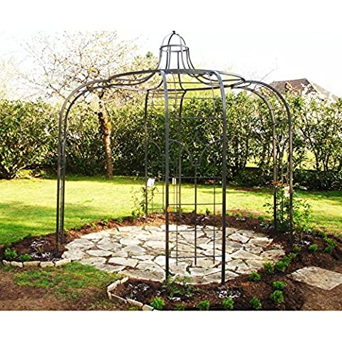 Gloriette Princess Small Tonnelle Pergola de Jardin Abris Rond En Acier Peinture Epoxy Marron Martelé 240x240x300cm