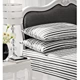 PRINTED KING BED FITTED SHEET STRIPE MATCHES DUVET BLACK & WHITE - BRAND NEW