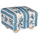 Miniatur Couch Hocker / Sofa Hocker - für Puppenstube Maßstab 1:12 - blau & weiß gemustert - Puppenhaus Puppenhausmöbel Sofasessel Wohnzimmer Klein - für Wohnzimmerlandschaft - Puppensofa - Möbel Wohnlandschaft - Miniatur Diorama