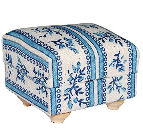 Preisvergleich Produktbild Miniatur Couch Hocker / Sofa Hocker - für Puppenstube Maßstab 1:12 - blau & weiß gemustert - Puppenhaus Puppenhausmöbel Sofasessel Wohnzimmer Klein - für Wohnzimmerlandschaft - Puppensofa - Möbel Wohnlandschaft - Miniatur Diorama