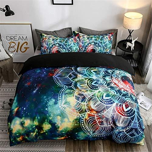 Ropa de Cama King Size Estilo Bohemio Mandala Galaxia Universe Cielo Estrellado Lunar Planeta 3D Colorido Púrpura Azul Funda nórdica 220 x 240 cm - Cama 150 cm