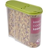 keeeper Boîte Verseuse pour Aliments Secs, Couvercle Rabattable, Plastique sans BPA, 1,25 L, 19 x 8 x 17 cm, Jean, Vert