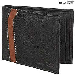 SPAIROW Mens Genuine Leather Wallet (W-03) BLACK