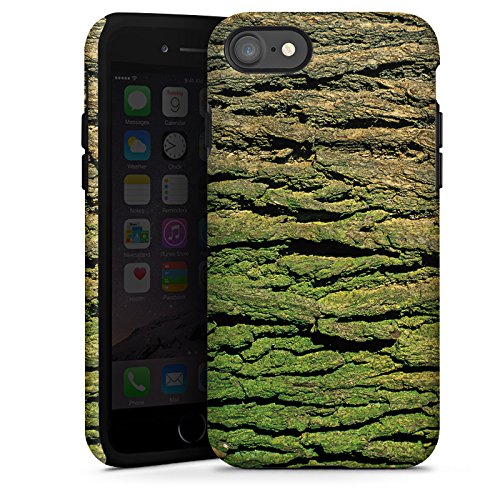 Apple iPhone X Silikon Hülle Case Schutzhülle Baumrinde Rinde Look Baum Holz Tough Case glänzend