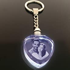 GONDGET Customized 2D Crystal Heart Keychain with Light Friendship Day Gift(White)