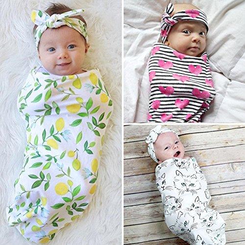 Baby Wickeldecke, Infant Newborn Schlafsack Musselin mit Haarband
