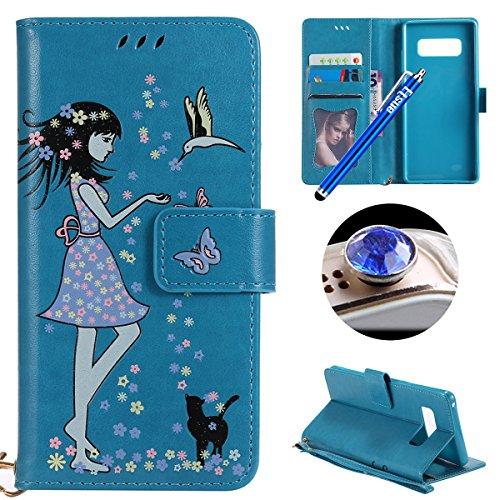Custodia-Galaxy-Note-8Case-Cover-per-Galaxy-Note-8Etsue-Copertura-in-PellePU-Portafoglio-Luminous-Noctilucent-Leather-Wallet-CoverBuona-Mano-Sensazione-Trama-Ragazza-Gatto-Pattern-Luminous-Leather-Wal