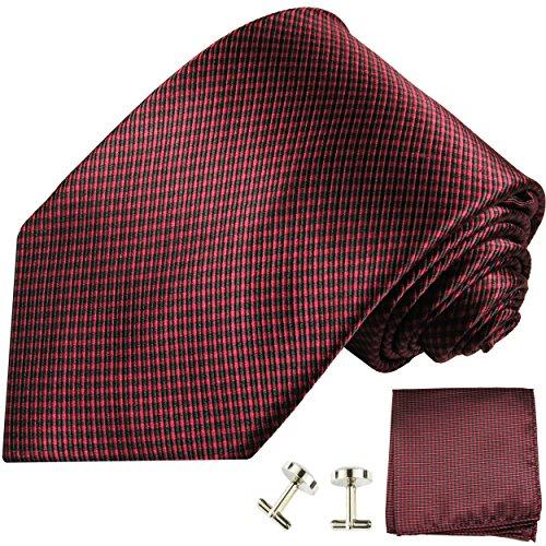 Cravate homme rouge noire ensemble de cravate 3 Pièces ( longueur 165cm )