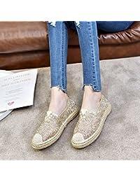 BTBTAV Cabeza Redonda Plana Encaje Calzado Plano Transpirable Zapatos De Mujer Sandalias UE 38 Gold