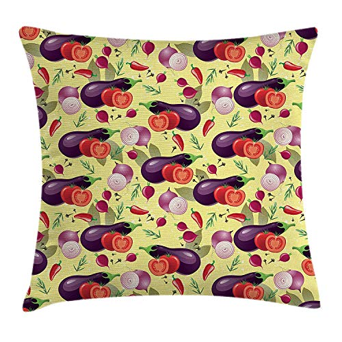 Yinorz Eggplant Throw Pillow Cushion Cover, Eggplant Tomato Relish Onion Going Green Eating Organic Tasty Preserve Nature, Decorative Square Accent Pillow Case, 18 X 18 inches, Multicolor -