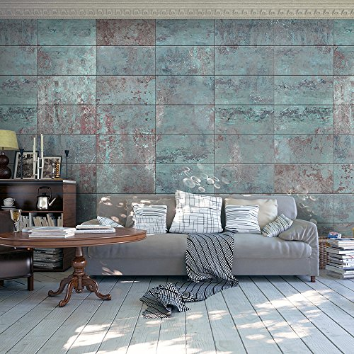 murando - Puro realistic murals wallpapers 0.5x10 m - Fleece wallpaper - No pattern repeated - Decorative panel - Photo on a wall XXL - concrete stone mosaic rampart wall blue beige brown f-A-0161-j-b