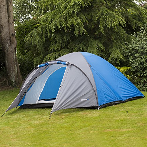 Adtrek BlueGrey Double Skin Dome 4 Man Berth Camping Festival Family Tent