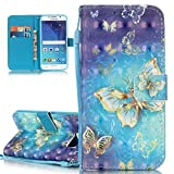 Samsung Galaxy S6 Case, Galaxy S6 Flip Cover, ISAKEN PU Leather Cover for Galaxy S6 - Fashion Drawing Pattern Design Bookstyle Cell Phone Case Luxury Pu Leather Wallet Magnetic Strap Design Mobile Cover Protect Skin Stand Case Pouch with Card Holder - gold butterfly