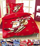 Winter Flausch Bettwäsche Weihnachten Motive Microfaser Thermo Fleece, 2x 135x200 cm + 2x 80x80 cm Ruprecht