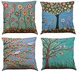 COFACE 4 Stück glückliche bunte Bäume gedruckt Muster Kissenbezug 45X45cm Leinen-Baumwoll atmungsaktiv Kissenhülle Kopfkissenbezug (Muster A)