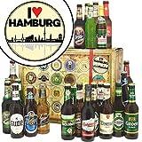 I love Hamburg | Bier Set | Biere der Welt und Deutschland | I love Hamburg | Biergeschenk Box | Hamburg Geschenk für Paare | Geburtstagsideen Hamburg | GRATIS 6x Geschenk Karten + Umschlage, 3 Urkunden, Bierbewertungsbogen